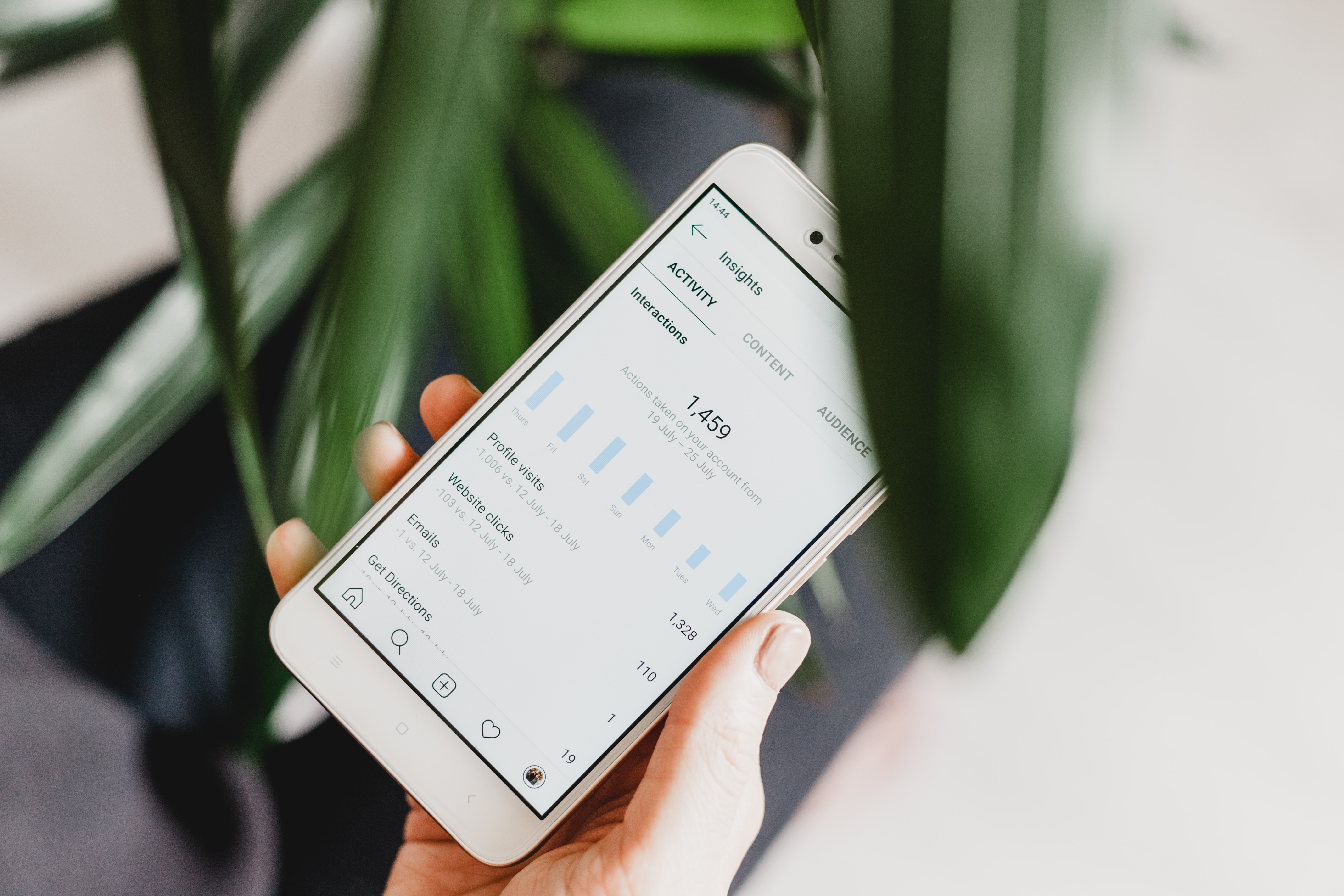 A phone with instagram insights on it | 3 reasons why social commerce works so well with influencer marketing.